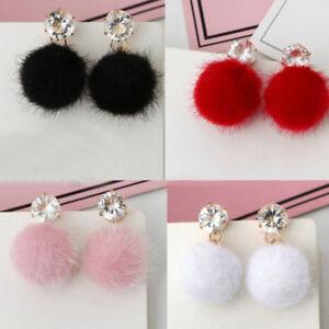 bc9fef601 Women Cute Faux Fur Fluffy Plush Ball Pom Pom Jewelry Crystal Ear ...