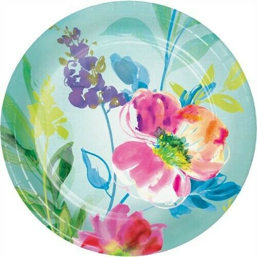 Painterly Floral 7 Inch Paper Plates Watercolor Spring Flower Floral Party Decor