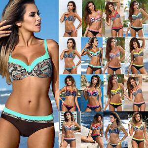 Damen Push Up Bikini Set Gepolstert Badeanzug Bademode Schwimmanzug Badekleidung