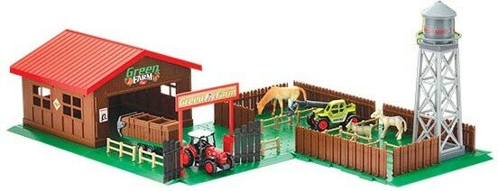 TOY FARM HOUSE YARD BUILD TOWER LOADER ANIMALS FENCE TRACTOR BARN