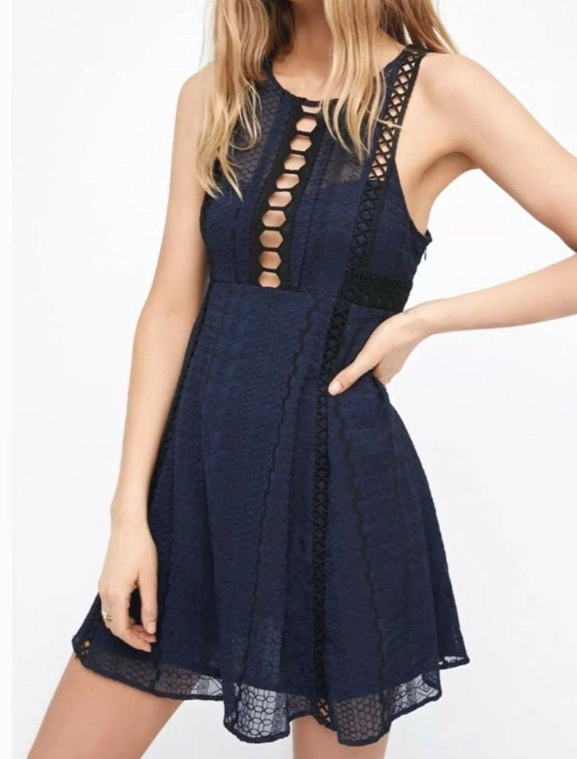 Free People OB534347 Wherever You Go Sleeveless Mini Dress in Navy