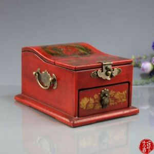 Collectible Old China Paint Dragon Women Make-Up Mirror Boxes Jewelry Wood box