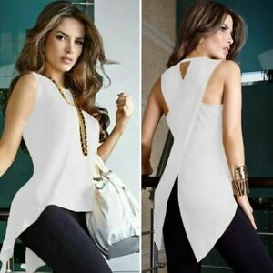 Womens-Blouse-O-Neck-Top-Ladies-Summer-Sleeveless-Shirt-Fashion-Casual-Clothes