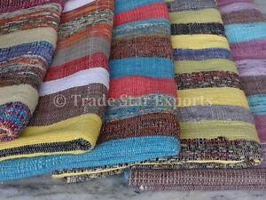 Area-di-grandi-dimensioni-Rag-Tappeto-Oriental-RUNNER-5x8-mano-stava-Sari-Indiano-Buttare-Boho