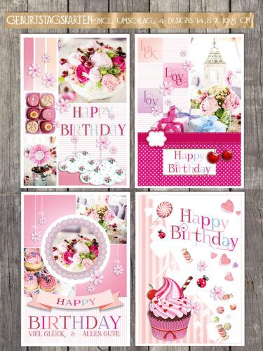 20 Geburtstagskarten Klappkarten incl.Umschlag 4 Designs