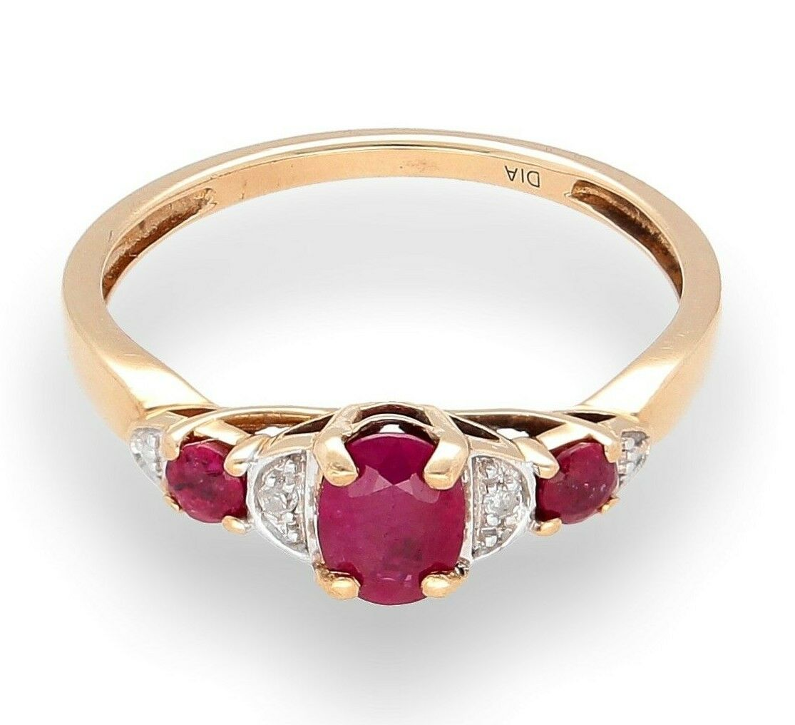9Carat Yellow gold Ruby & Diamond Solitaire Cluster Ring (Size K) 5mm Widest