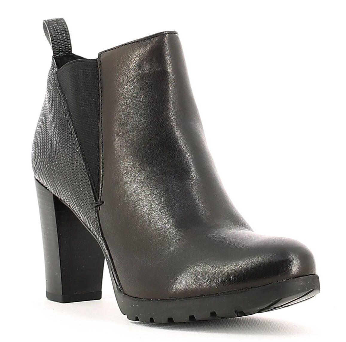 KEYS 1156 1156 1156 CUIR black shoes femme bottines à gros talon bottes compensé 1f42a8