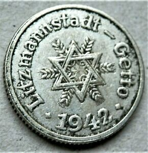 WW2-NAZI-GERMANY-ERA-JUDE-JEWISH-10-pfennig-EXONUMIA-COIN-GETTO-1942-LITZMANNSTA