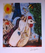 MARC CHAGALL BRIDE & GROOM OF THE EIFFEL TOWER Facsimile Signed Art Giclee