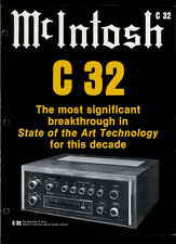 Rare Original Factory McIntosh C 32 Stereo Preamplifier Amp Dealer Brochure