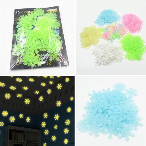50PCS Luminous White Snowflakes Xmas Wall Stickers Flower Removable Decor