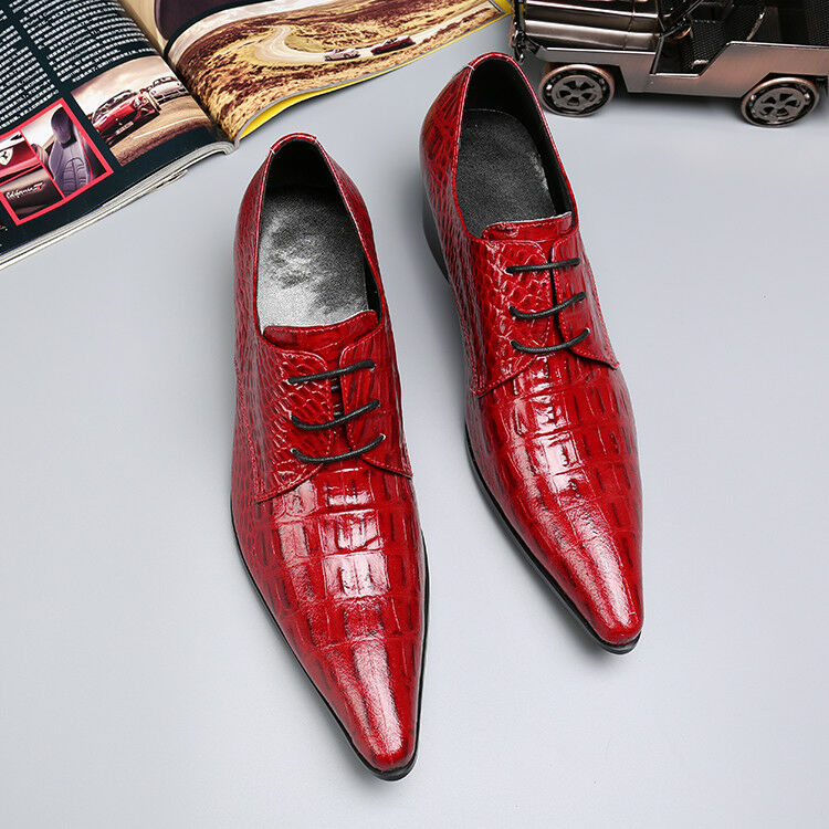 uomo Red Wedding Lace up Shoes Dress Business British Style Pointy Toe Shoes plus Scarpe classiche da uomo