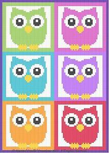 Crochet-Patterns-OWLS-amp-MORE-OWLS-Color-Graph-Afghan-Pattern-SCRAP-YARN