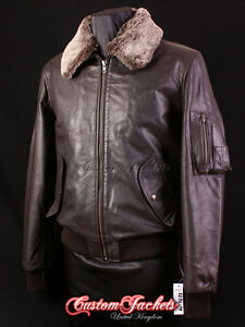 New Stylish Air Force Fur Collar Brown Bomber Men/'s Real Skipper Leather Jacket