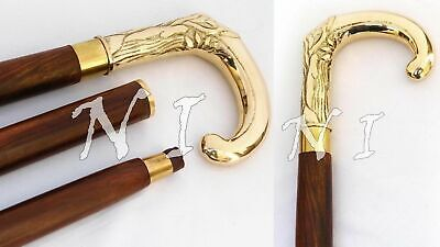 Liberal Handmade Walking Stick Golden Polished Brass Handle Wooden Canes Camping &hiking Woodenware