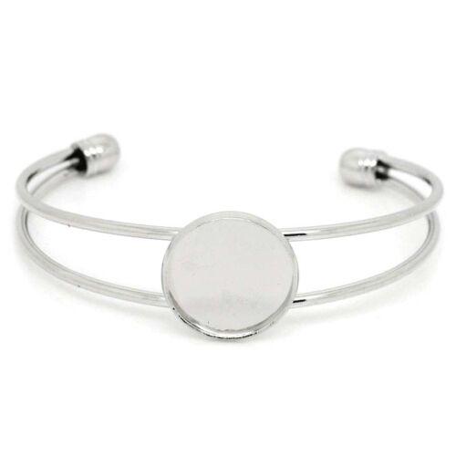 Wholesale Market Round  Setting Bangles Bracelets Silver Tone