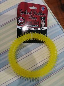 Bow-Wow-Pet-Spiked-Rubber-Ring-Dog-Chew-Toy-Yellow-Rubber-6-034-Vanilla-Scented