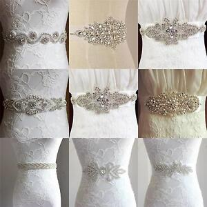 Uk Luxury Vintage Crystal Sash Rhinestone Pearl Beaded Wedding Dress