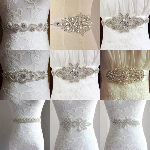 UK Luxury Vintage Crystal Sash Rhinestone Pearl Beaded Wedding Dress Bridal Belt