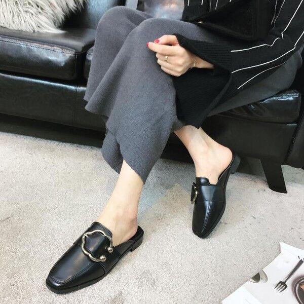 Ciabatte eleganti sabot  negro  basse eleganti comodi pelle sintetica 9855