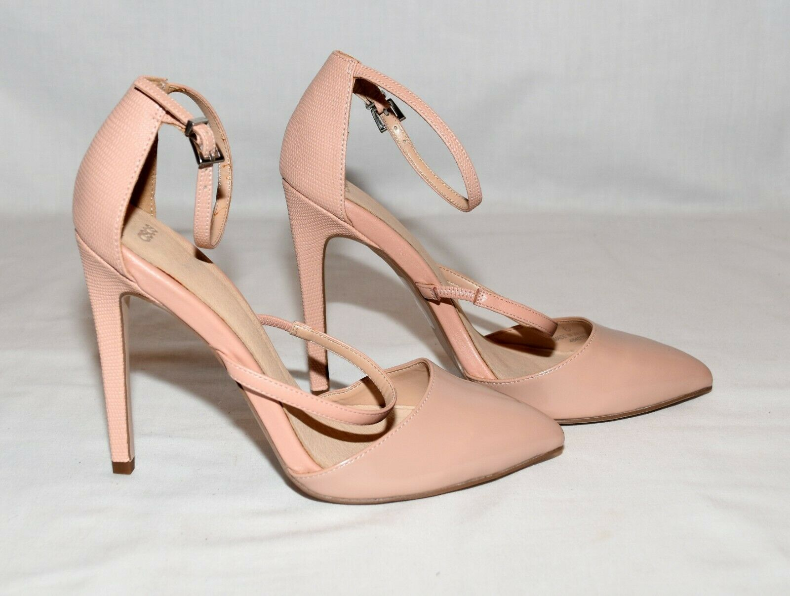 ASOS Nude Faux Patent Leather Toe Textured Leather Heels Stilettos Size 6M NWOB