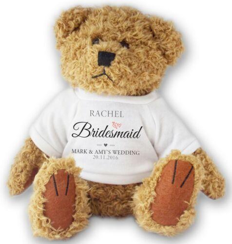 Personalised BRIDESMAID wedding teddy bear thank you gift allted11