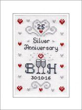 Silver Wedding Anniversary cross stitch card kit