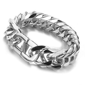 Heavy Silver Brushed Stainless Steel Cuban Curb Link Chain Men/'s Bracelet Bangle