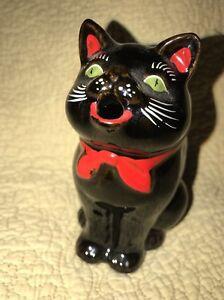 Vintage-Shafford-Japan-Black-Cat-Redware-Figurine-Creamer-Pitcher-Halloween