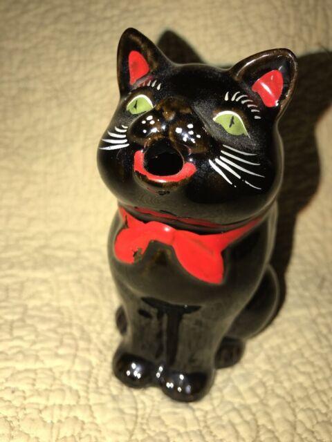 Vintage  Shafford Japan Black Cat Redware Figurine Creamer Pitcher Halloween