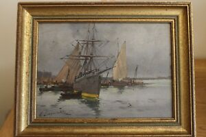 oil-on-panel-boat-E-Galien-Laloue-ship-and-boats-harbour-scene-fully-signed