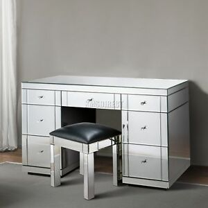 FoxHunter Mirrored Furniture Glass 7 Drawer Dressing Table Console ...