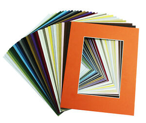 Set of 25 8x10 MIXED COLORS Mats with Whitecore for 5x7 Photo +Backing +Bags