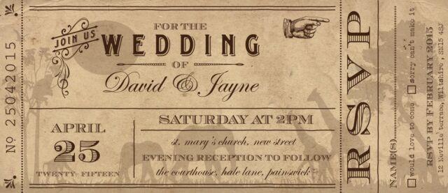 Sample Wedding Invitation Vintage Safari Ticket!The Invite Shack