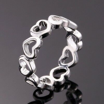 925 Silver Filled Love Heart Ring Romantic Women's Fashion Jewelry Size 8