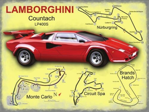 Lamborghini Race Circuits Small Metal Tin Sign Italian Sports Car Supercar