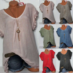 Women-Vintage-Casual-T-Shirts-Summer-Baggy-Top-Loose-Beach-Boho-Blouse-Plus-Size