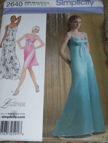 SIMPLICITY #2640-LADIES SPAGHETTI STRAP EVENING GOWN IN 2 LENGTHS PATTERN 6-22FF