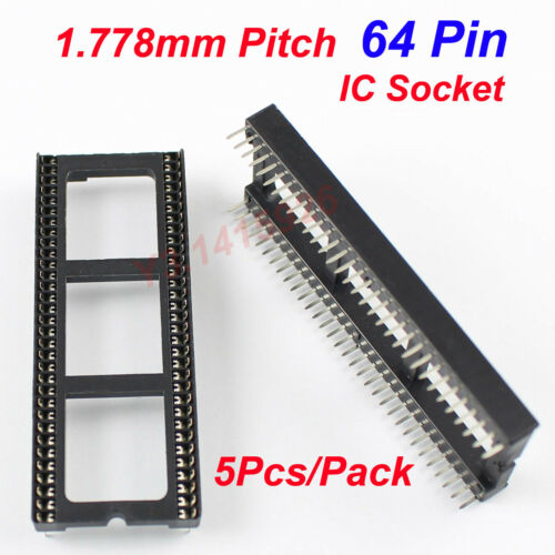 5Pcs New 1.778mm Pitch 64 Pin DIP Solder Type Wide IC Socket Adapter