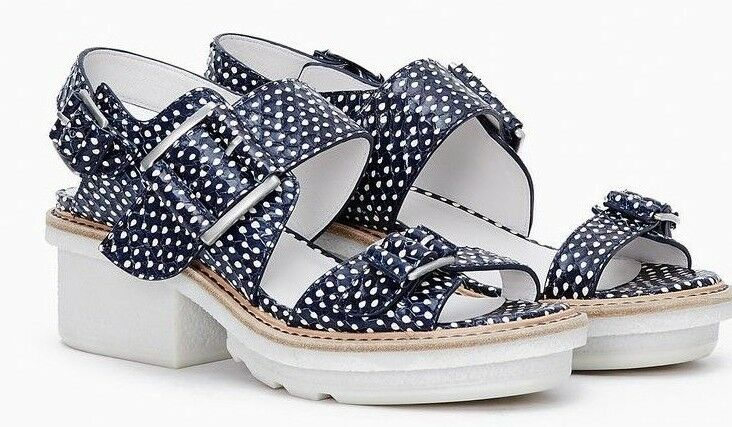 3.1 Phillip Lim Mallory Navy and White Chunky Platform Sandals Size 8 38B  495
