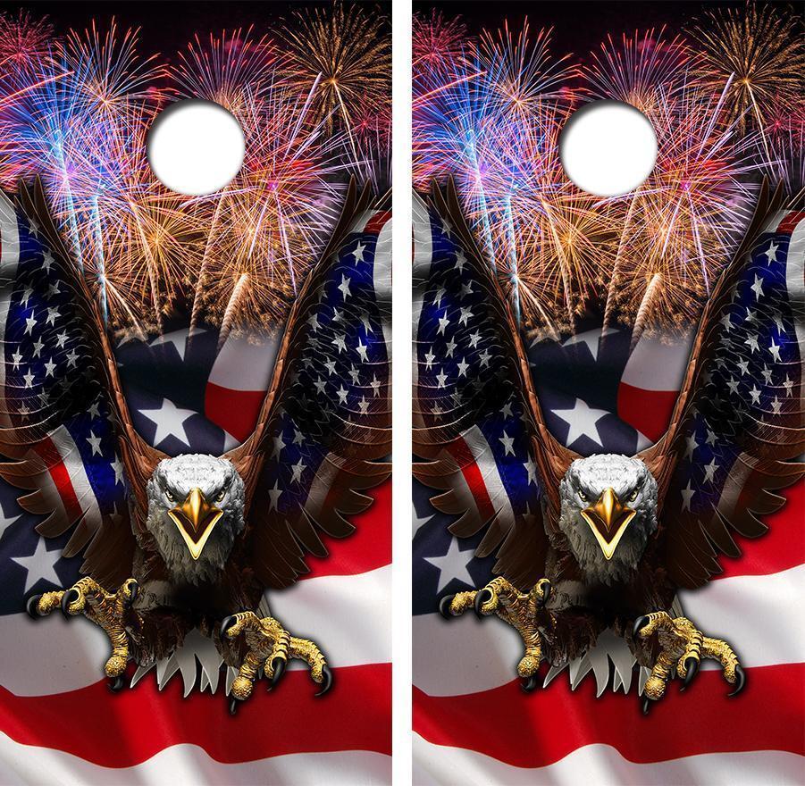 Eagle Flag America Cornhole Board Skin Wrap FREE Laminate