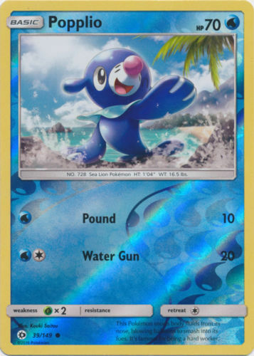 Pokemon POPPLIO 39//149 COMMON REVERSE HOLOFOIL NM CARD  SUN /& MOON