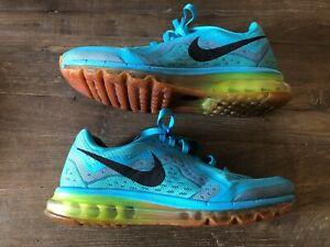 Details about Nike Air Max 2014 Gamma Blue Volt Orange Running Shoes 621077 407 Men's 99.5