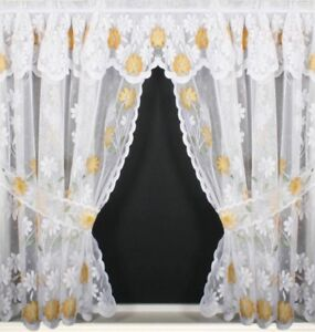 YELLOW GOLD MARIGOLDS SPRING DAISY FLOWERS WHITE LACE NET CURTAIN SOLD PER METRE