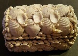 Sea-Shell-Trinket-Jewelry-Box-Ivory-Treasure-Chest-Vintage-Folk-Art-5-5-034-X3-5-034-X3-034