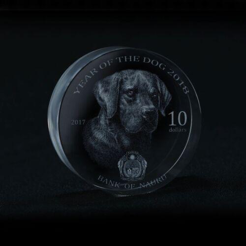 2018 Nauru $10 Lunar Year of the Dog Unusual Crystal Glass Coin 狗 Chinese Zodiac