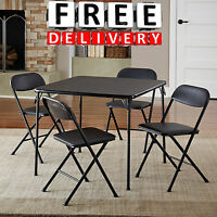 Card Table Chairs 5pc Set Game Patio Dining Set Patio Folding Metal Furniture