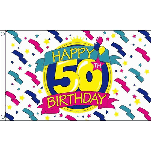 Happy 50Th Birthday Flag 5Ft X 3Ft Celebration Party Banner With 2 Eyelets New