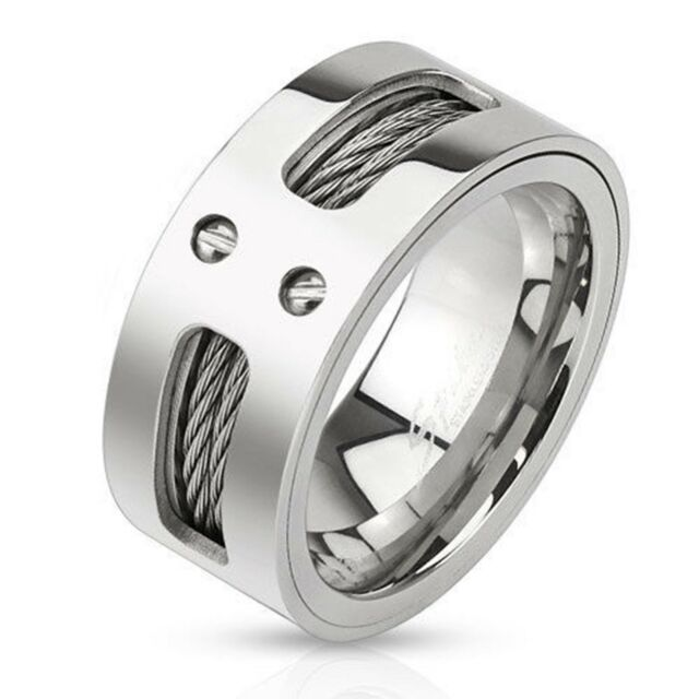 Men Double Wires Inlayed Stainless Steel Band Ring