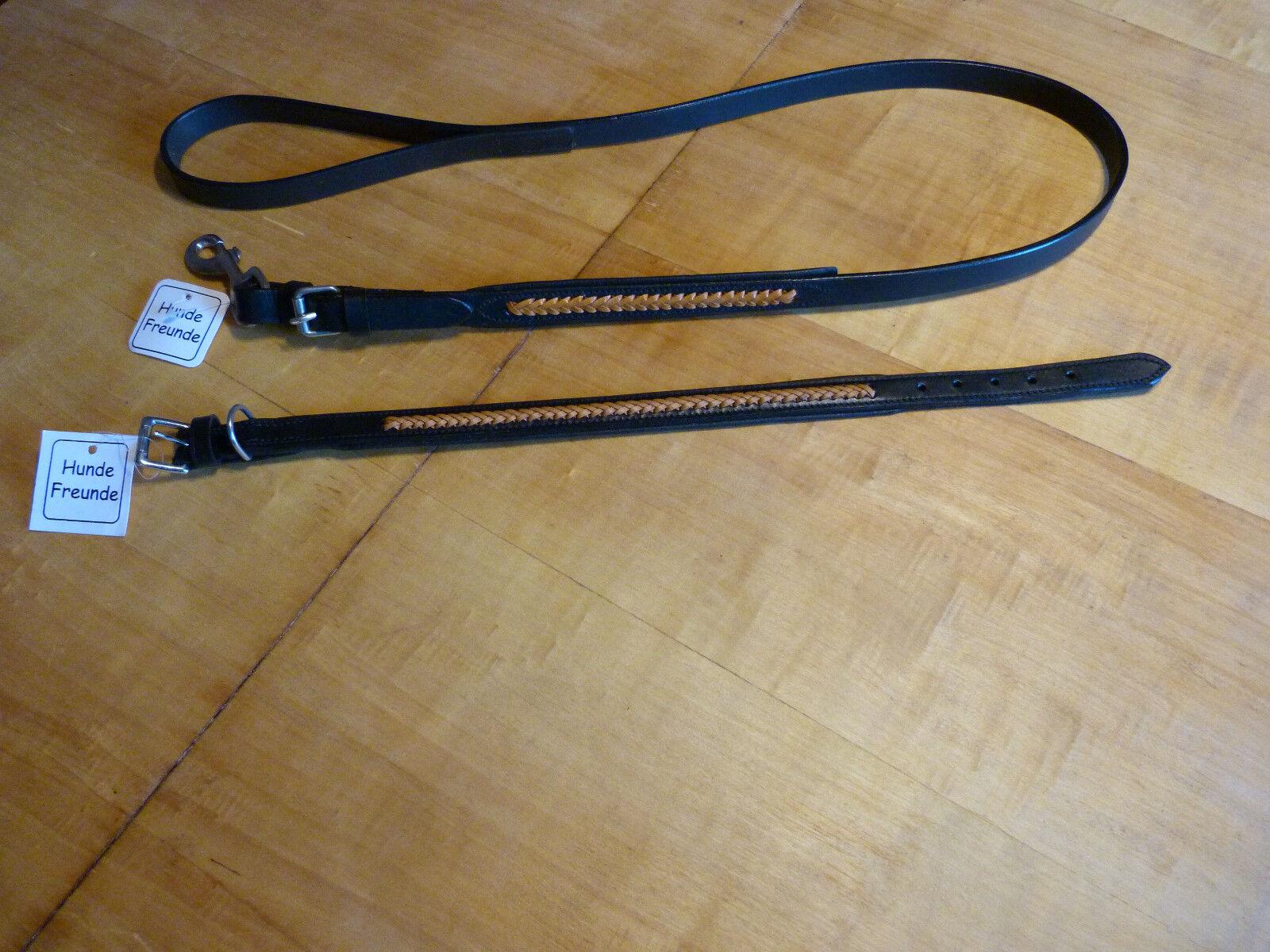 Set - Halsband Leder 50 x 1,8 cm + Hundeleine Leder 1,4 m x 18 mm, flechtmuster